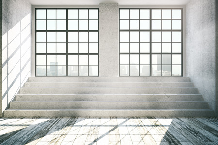 wooden stairs: Empty interior with windows, city view, daylight, concrete stairs and antique wooden floor. 3D Rendering