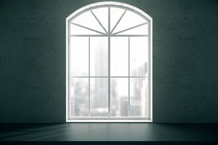 interior window: Windowsill and window with blurry city view on concrete wall. 3D Rendering