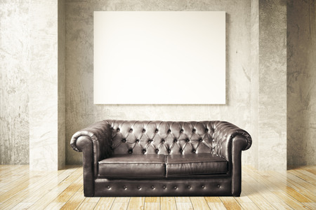 leather couch: Luxurious black leather couch and blank billboard in room with wooden floor and concrete wall. Mock up, 3D Rendering