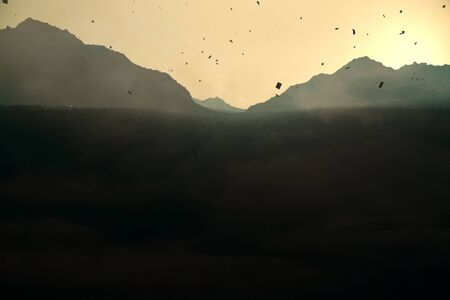 backlit: Abstract backlit paper mountains on sunset background. 3D Rendering Stock Photo