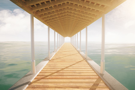 pier: Wooden sea pier with a roof on cloudy sky background. 3D Rendering