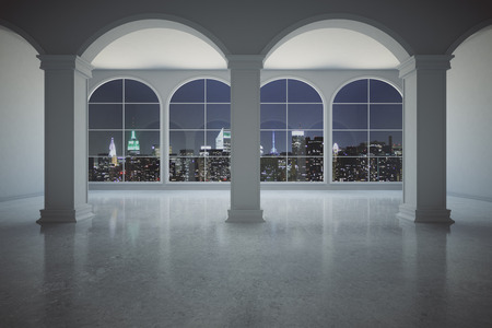 Classic concrete interior with columns and panoramic windows with illuminated night city view. 3D Rendering
