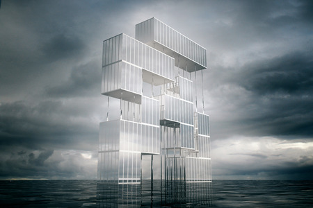 Abstract brick game construction on stormy sky background. 3D Rendering