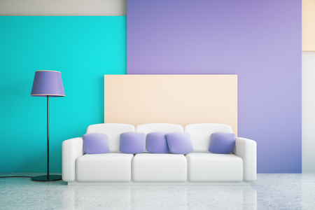 living room wall: Vibrant blue and purple living room interior design with large sofa and floor lamp. 3D Rendering