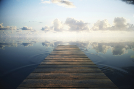 toned: Wooden plank sea pier on beautiful sky background. Toned image, 3D Rendering Stock Photo
