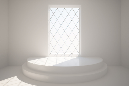 interior window: Abstract concrete interior with pedestal and rhombus framed window with daylight. 3D Rendering Stock Photo