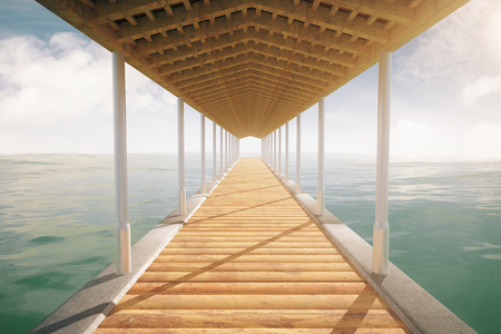 Wooden sea pier with a roof on cloudy sky background. 3D Rendering