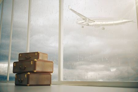 dull: Airport interior with three suitcases and panoramic window with airplane flying by on dull sky background. 3D Rendering