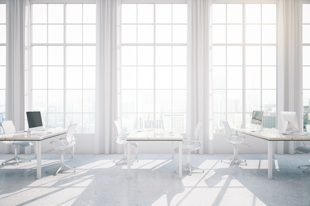 city light: Bright light coworking office interior with city view and sunlight. 3D Rendering