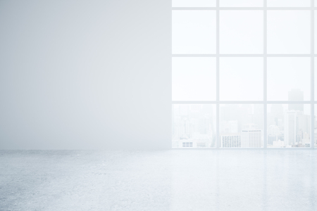 copyspace: Empty office interior with blank wall and city view. Mock up, 3D Rendering