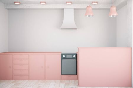 countertop: Front view of minimalistic pink kitchen interior. 3D Rendering Stock Photo