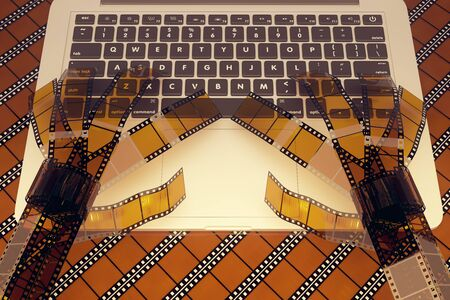 typing on keyboard: Abstract film strip hands typing on laptop keyboard. 3D Rendering