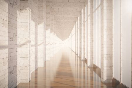 hotel hall: Corridor interior with brick wall, shiny wooden floor and sunlight. 3D Rendering