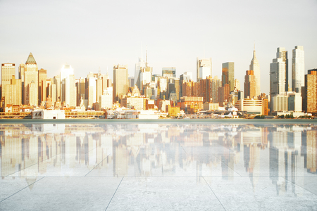 shiny floor: Empty shiny concrete tile floor on city background. Mock up, 3D Rendering