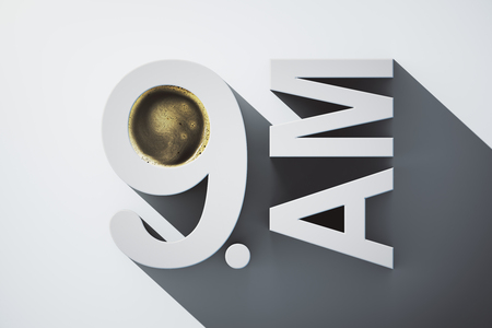 early: Early morning concept with abstract voluminous 9 AM text and coffee on light background. 3D Rendering