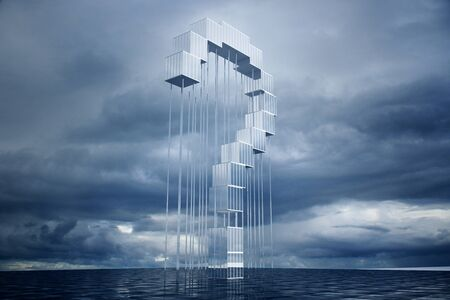 abstract building: Abstract question mark construction on cloudy sky background. 3D Rendering Stock Photo