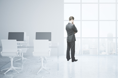 refelction: Thoughtful businessman in bright office interior with city view. 3D Rendering