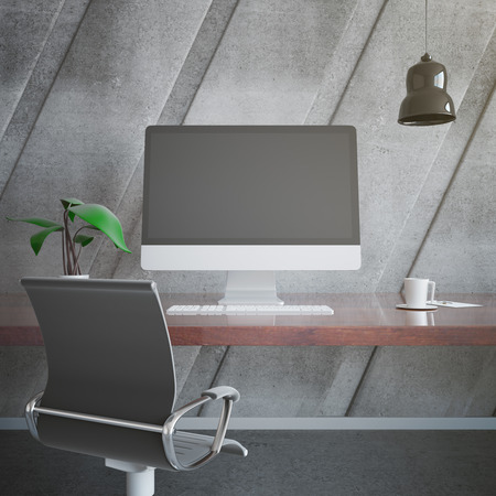 designer chair: Dark wooden designer workplace with blank computer monitor, decorative plant, coffee cup, chair, ceiling lamp and other items on concrete background. Mock up, 3D Rendering Stock Photo