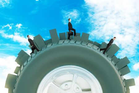 Three businessmen walking on abstract modern city tire on sky background. 3D Rendering 写真素材