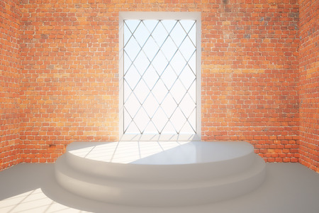 interior window: Abstract red brick interior with pedestal and rhombus framed window with daylight. 3D Rendering