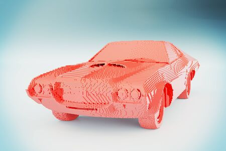 constructor: Red constructor car on light grey background. 3D Rendering