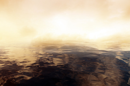 reflection: Abstract dark water and smoke. Copy space, 3D Rendering