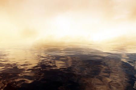 Abstracte donkere water en rook. Kopieer de ruimte, 3D-rendering