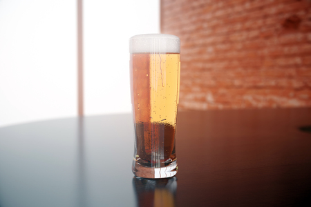 glass brick: Closeup of full beer glass on blurry background. 3D Rendering Stock Photo