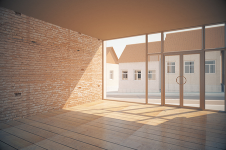 office ceiling: Side view of empty interior with wooden floor, brick wall, glass door with street view and sunlight. 3D Rendering