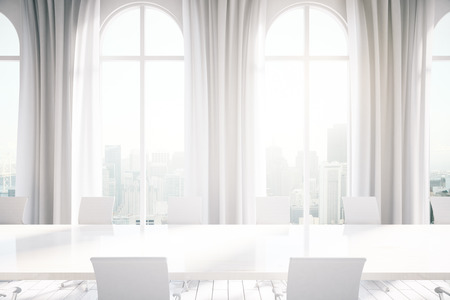 curtain background: Modern conference room interior with table, chairs, curtains and windows with New York city view. 3D Rendering