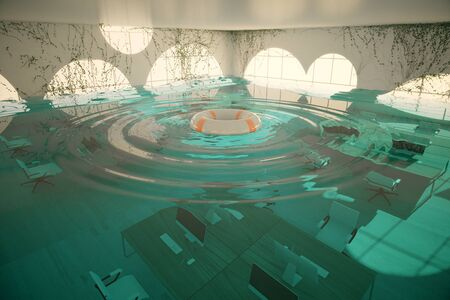 water damage: Lifebuoy in abstract flooded office interior. 3D Rendering