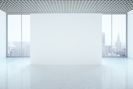 unfurnished: Bright unfurnished interior with blank wall and city view. Mock up, 3D Rendering