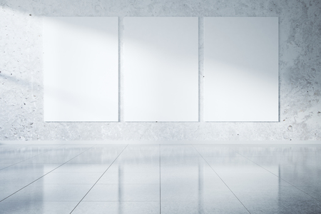 shiny floor: Concrete interior with three blank banners and shiny floor. Mock up, 3D Rendering Stock Photo