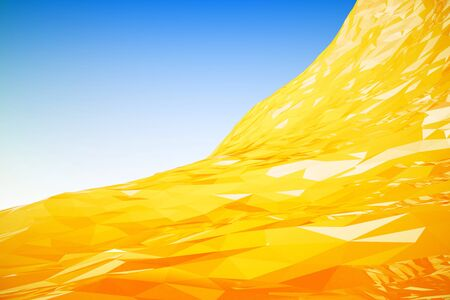 graphic background: Graphic bright yellow wave on light blue background. 3D Rendering Stock Photo
