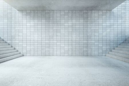 concrete stairs: Underground hall interior with blank tile wall, concrete floor, ceiling and stairs. Mock up, 3D Rendering