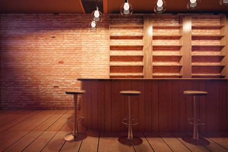 mostradores: Bar interior con mostrador de madera, taburetes y estantes en el fondo de la pared de ladrillo. Representación 3D