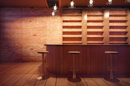 stools: Bar interior with wooden counter, stools and shelves on brick wall background. 3D Rendering Stock Photo