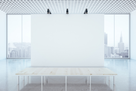 office space: Minimalistic interior with blank wall, city view and wooden table. Mock up, 3D Rendering Stock Photo