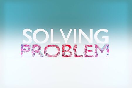 solving: Problem solving concept with shattered text on light background. 3D Rendering