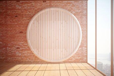 赤レンガ壁の背景、寄せ木張りの床、シティー ビューと日光パノラマ ウィンドウ抽象的な円形の木の板で空のインテリア。モックアップ、3 D レン 写真素材