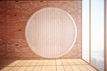 Leeg binnenland met abstracte ronde houten plank op rode bakstenen muur achtergrond, een parketvloer en een panoramisch raam met uitzicht op de stad en zonlicht. Mock-up, 3D-rendering