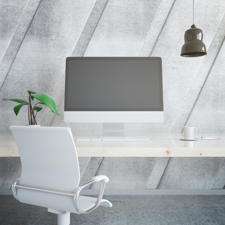 designer chair: Light wooden designer workplace with blank computer monitor, decorative plant, coffee cup, chair, ceiling lamp and other items on concrete background. Mock up, 3D Rendering