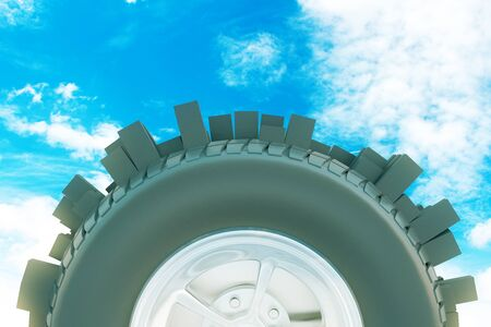 Abstract modern city tire on sky background. 3D Rendering