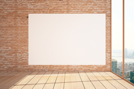 blank billboard: Interior with huge blank billboard on red brick wall, wooden floor and panoramic window with city view and sunlight. Mock up, 3D Rendering Stock Photo
