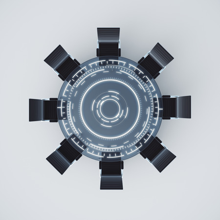 collegial: Top view of dark digital conference table on light background. 3D Rendering