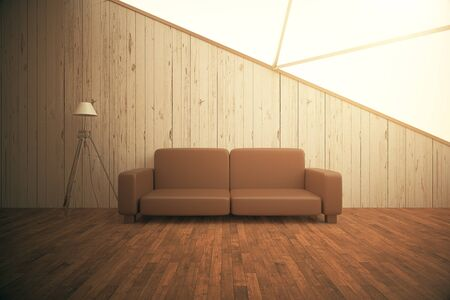 living room wall: Modern wooden interior with floor lamp and brown couch. 3D Rendering