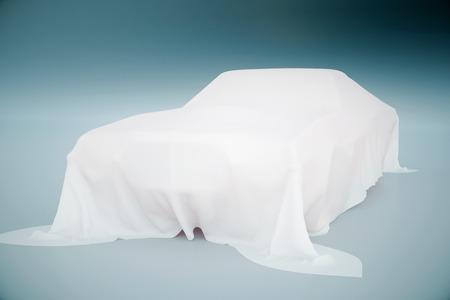 blatt: Auto mit weißem Tuch auf hellblauem Hintergrund. 3D-Rendering
