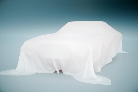 intrigue: Car covered with white cloth on light blue background. 3D Rendering Stock Photo