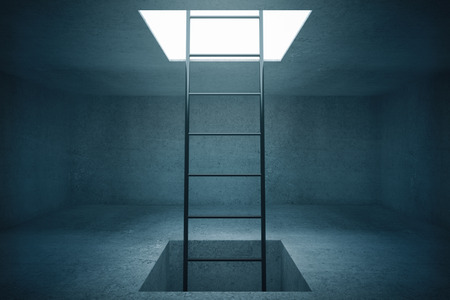 clamber: Escape ladder in concrete room. 3D Rendering
