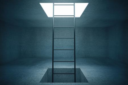 prison break: Escape ladder in concrete room. 3D Rendering